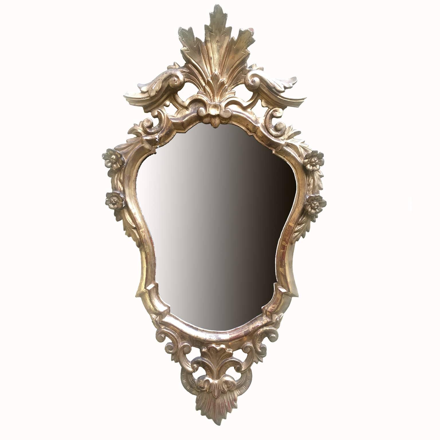 Specchiera antica dorata inizi 1900 realizzata in legno for Specchio rotondo antico