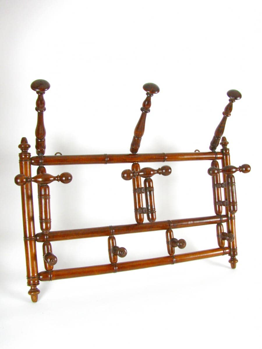 Bentwood Coat Rack with three foldable coat & hat hooks around ...