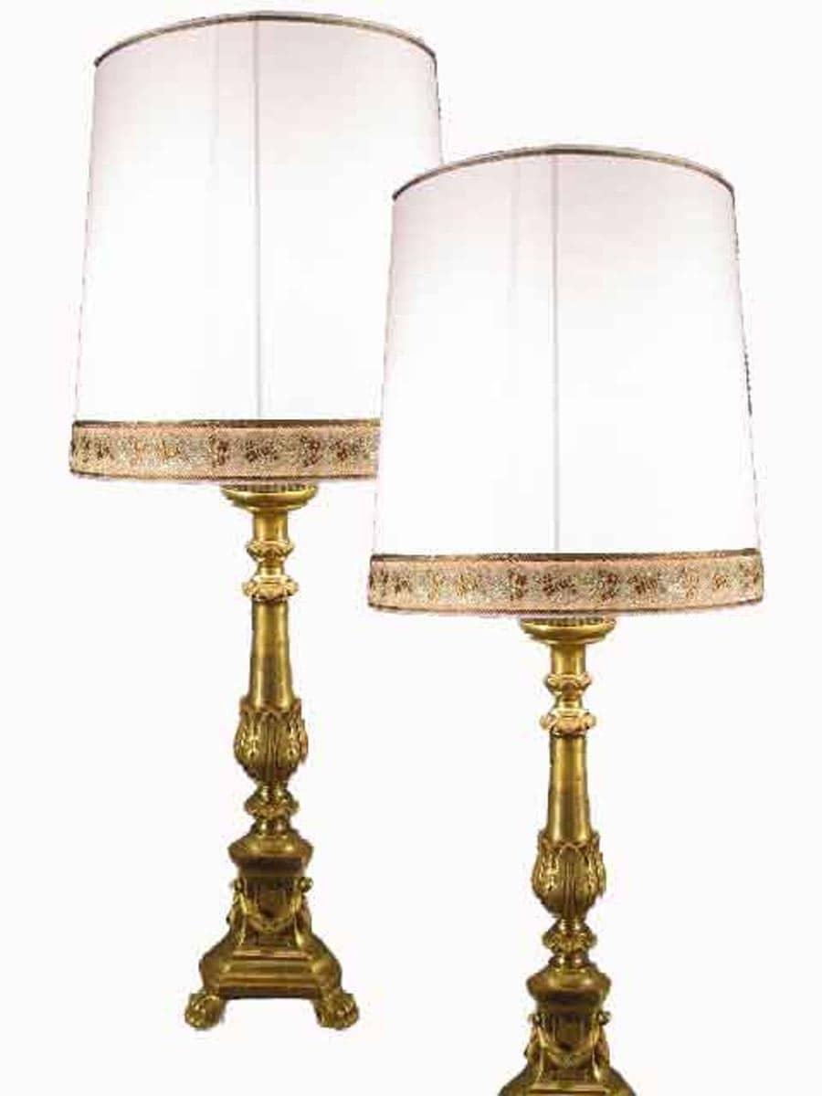 Candelieri legno intagliato e dorato coppia lampade antiche - Lampade da tavolo in legno ...