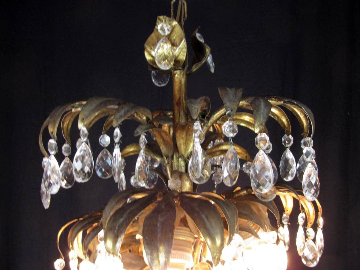 Lampadario 6 luci tralcio in ferro dorato e cristalli   ghilli ...