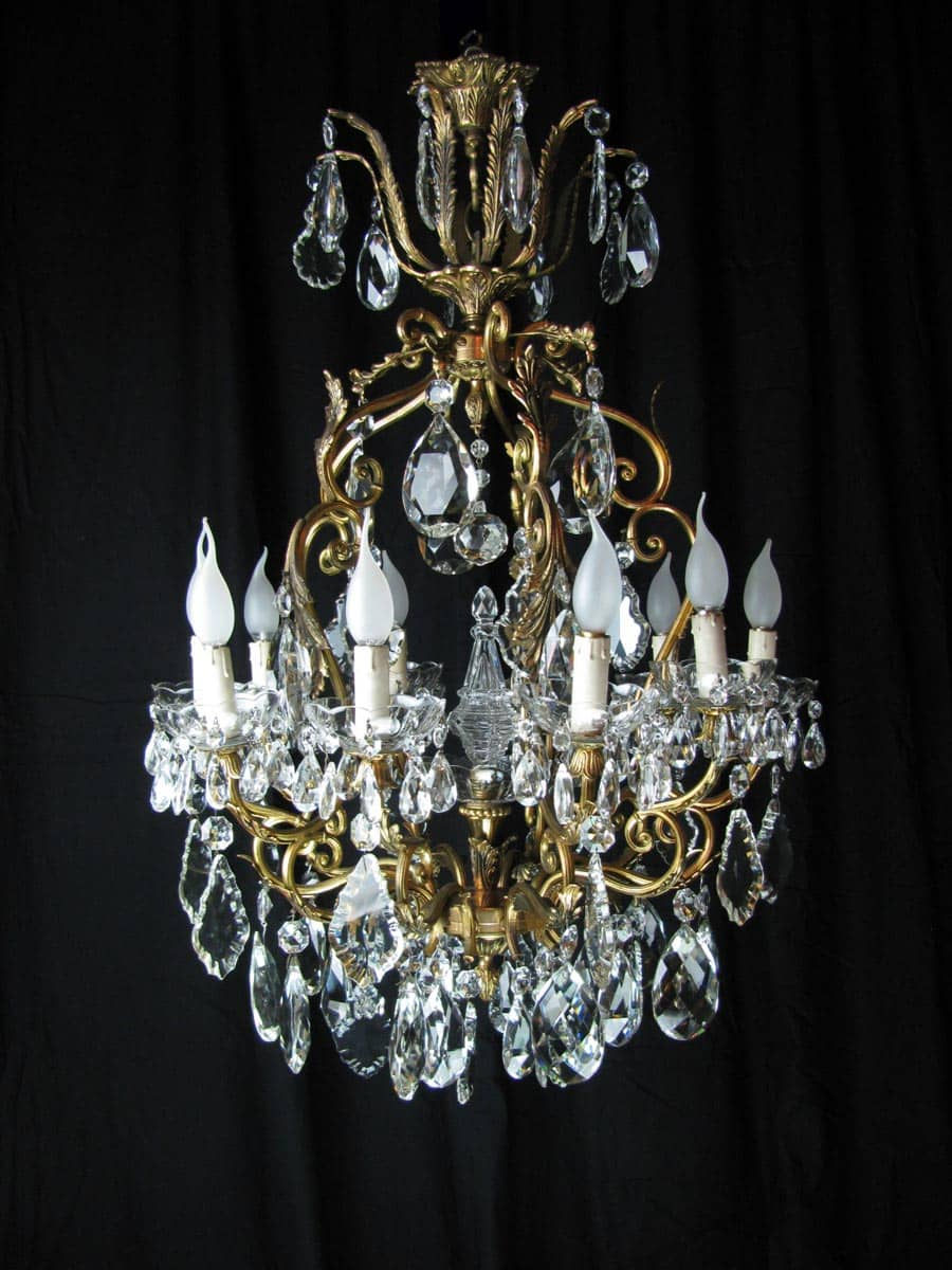 Lampadario in ottone e cristallo 10 luci ghilli for Accessori lampadari