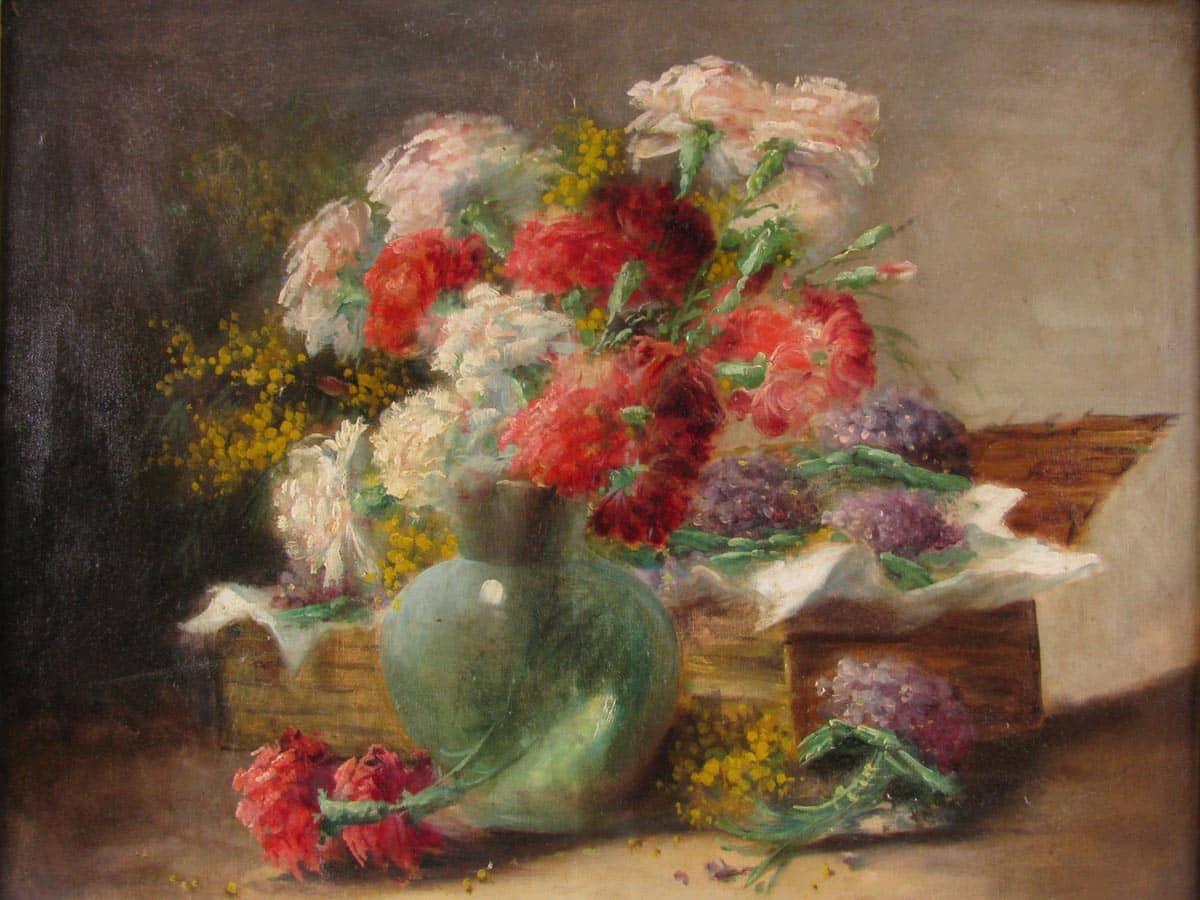 Natura morta di fiori francese ad olio su tela for Quadri ad olio con fiori