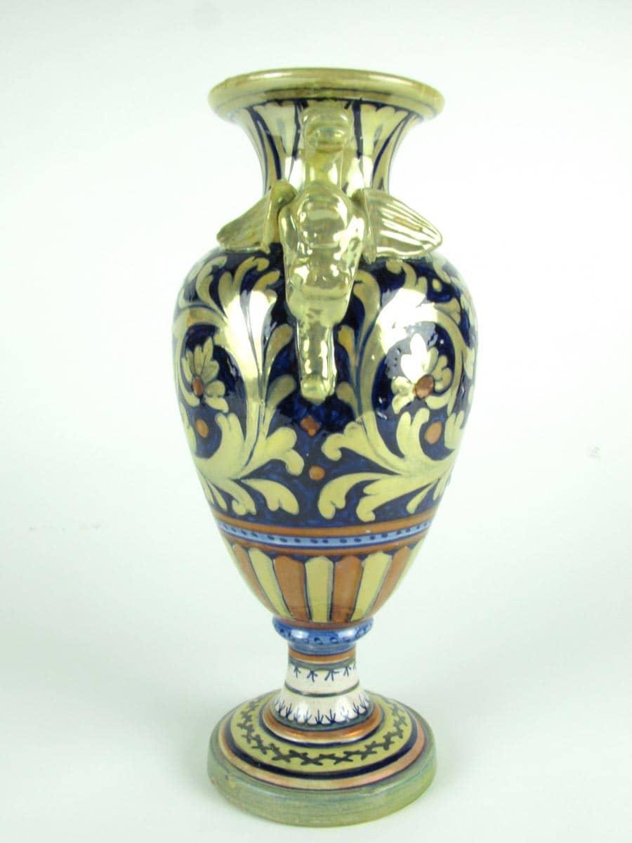 vaso in ceramica a lustro gualdo tadino decorato con fiori