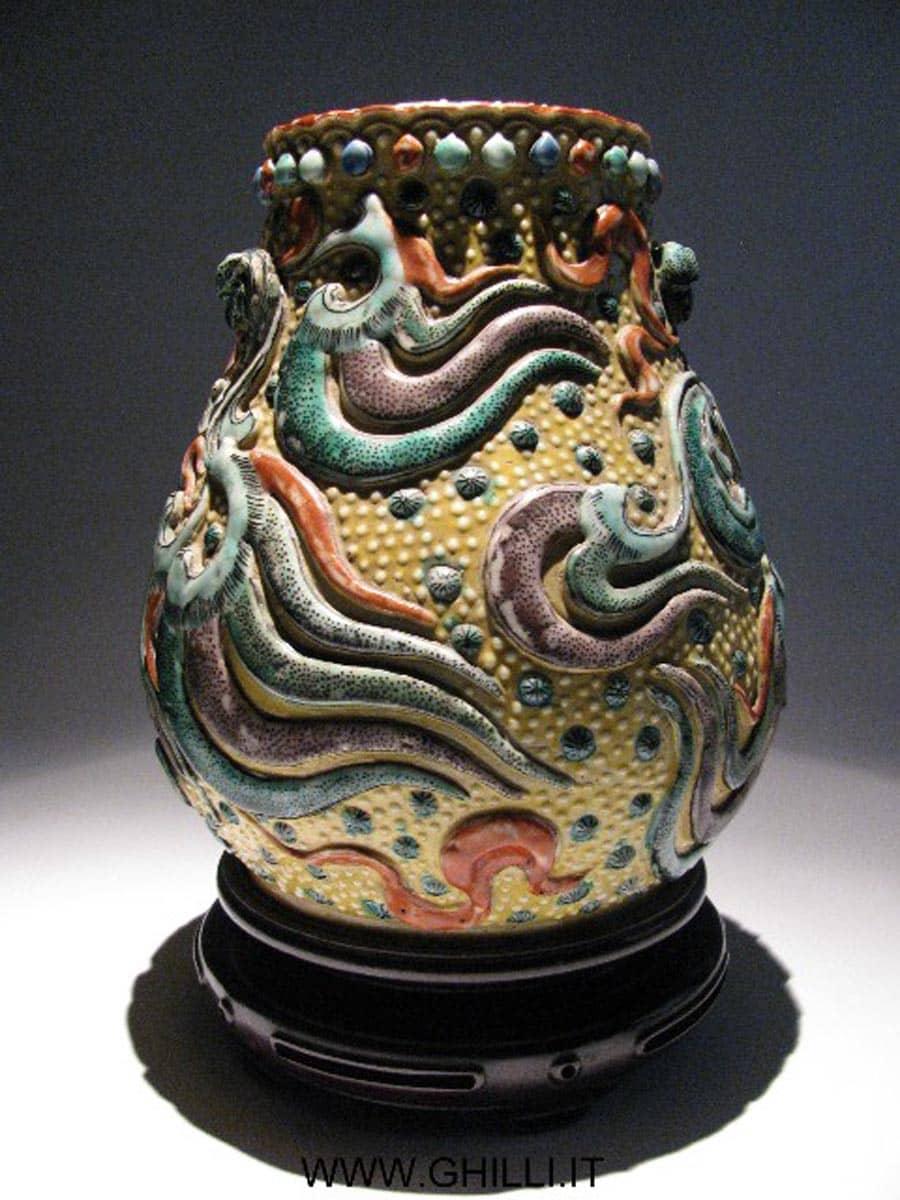 Vaso porcellana cinese antico decori in rilievo inizio xx for Vaso di porcellana