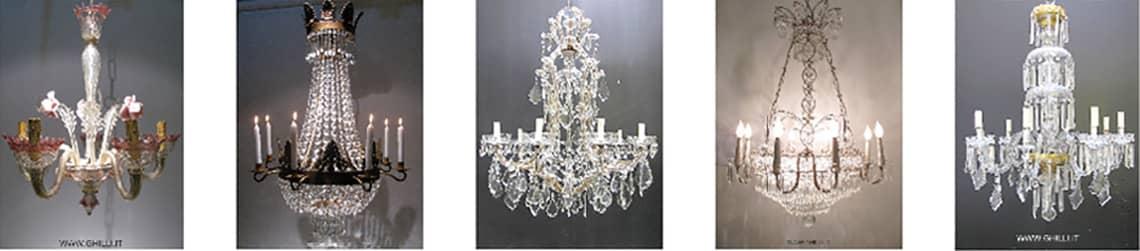 Lampadari cristallo, vendita lampadari in cristallo Ghilli antiquariato
