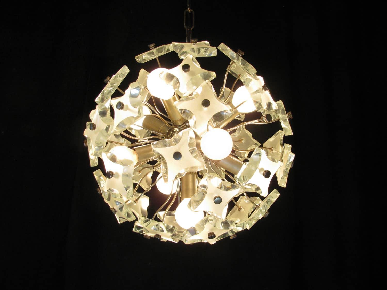 lampadari in metallo e cristallo 1970 circa a 9 luci