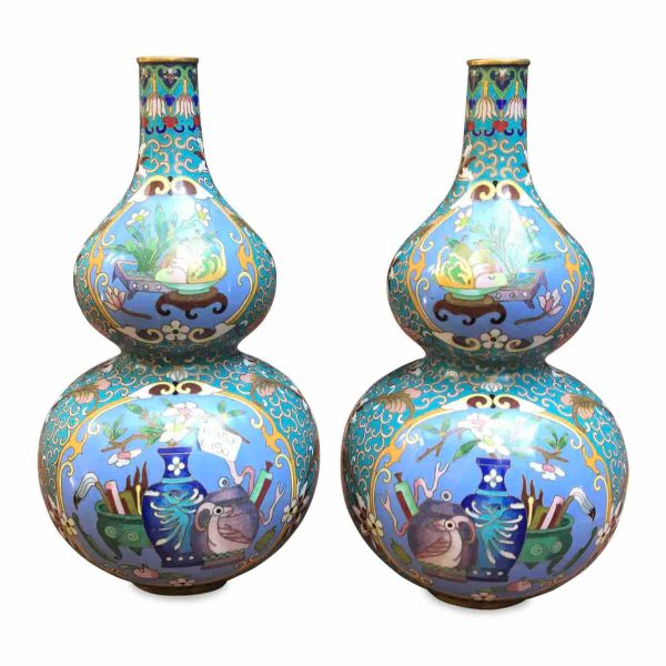 Pair of Chinese Cloisonne enamel Vases mid 20th cent