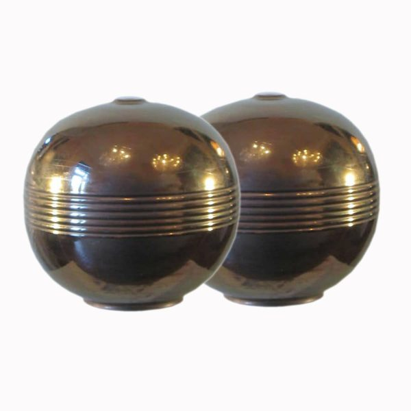 Coppia di lampade dorate in ceramica