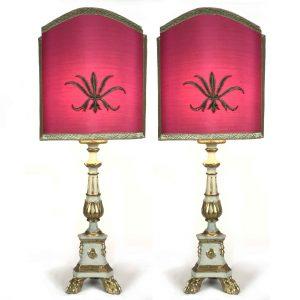 coppia candelieri legno laccato e dorato ottocento