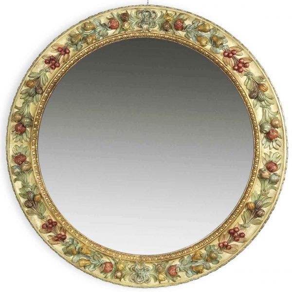 Late 20th century Italian fruits carved painted round mirror