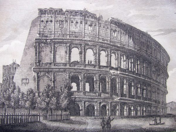 View of Colosseo in Rome – Antique print