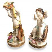 coppia di angeli in porcellana policroma w