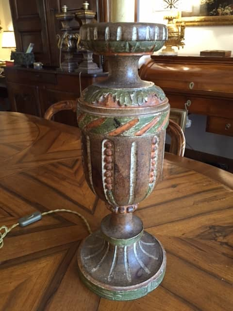 Tuscan carved painted wooden lamp base