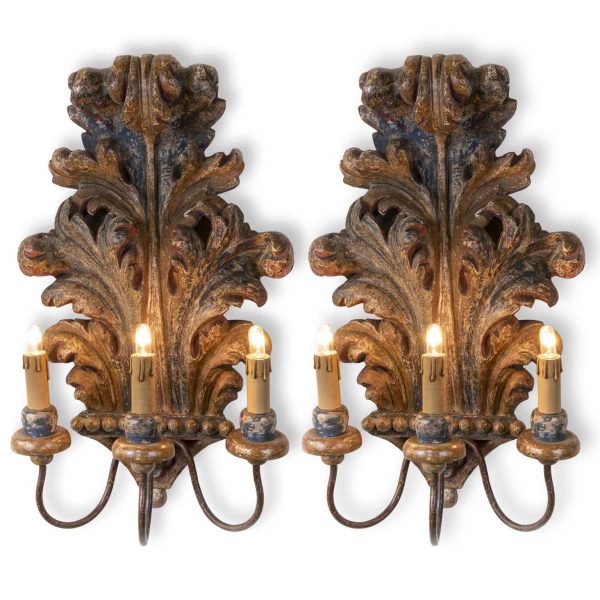 Pair of Carved Acanthus Leaf Sconces with Polychrome Painting, Tuscany, 1930's