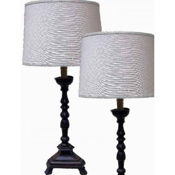 Pair of Italian wooden candlesticks-lamps
