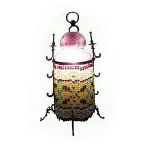 lampada da notte in bronzo e vetro