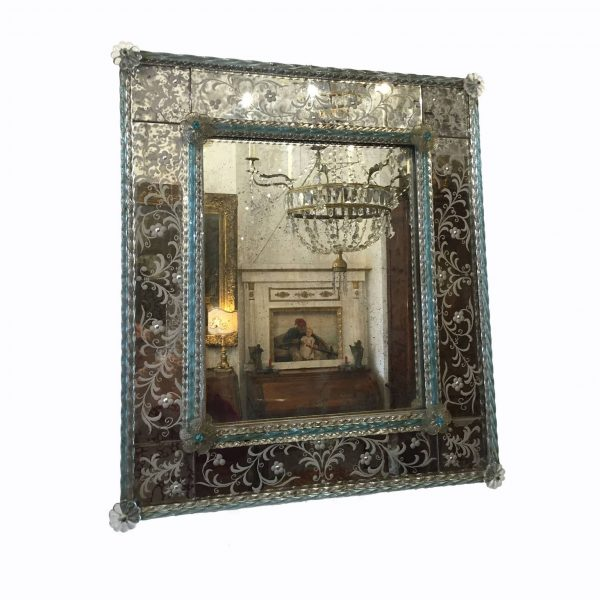 1950s Murano Venetian Clear and Turquoise Glass Mirror Framed in Floral Etched Glass