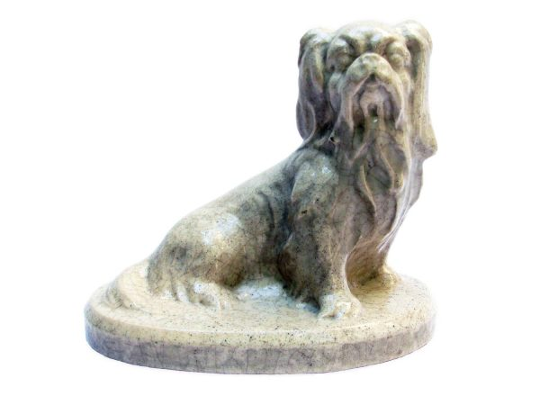 French Art Deco Ceramic Seated Pekingese Dog Sculpture by Louis Fontinelle