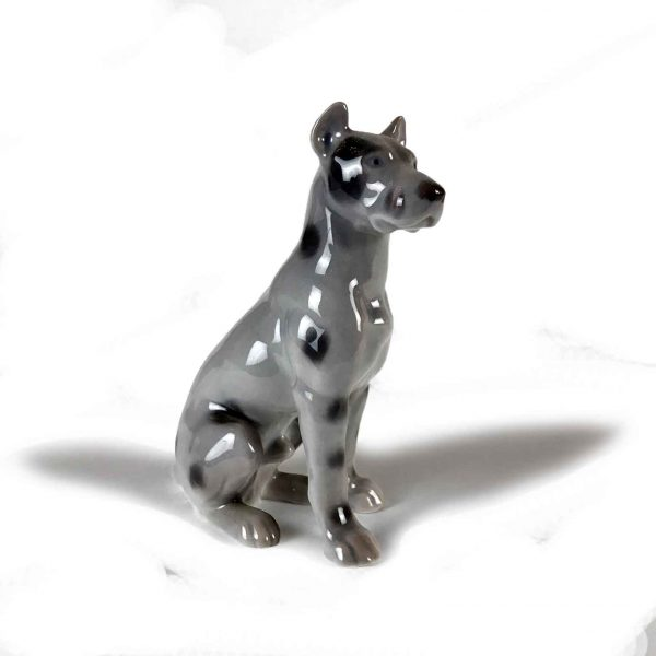 Great Dane Sitting Dog B&G Porcelain Figurine