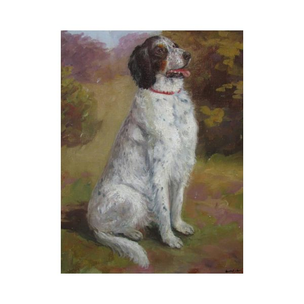 Hunting Setter Dog Early 20th Century Painting, French School, Signed and Framed