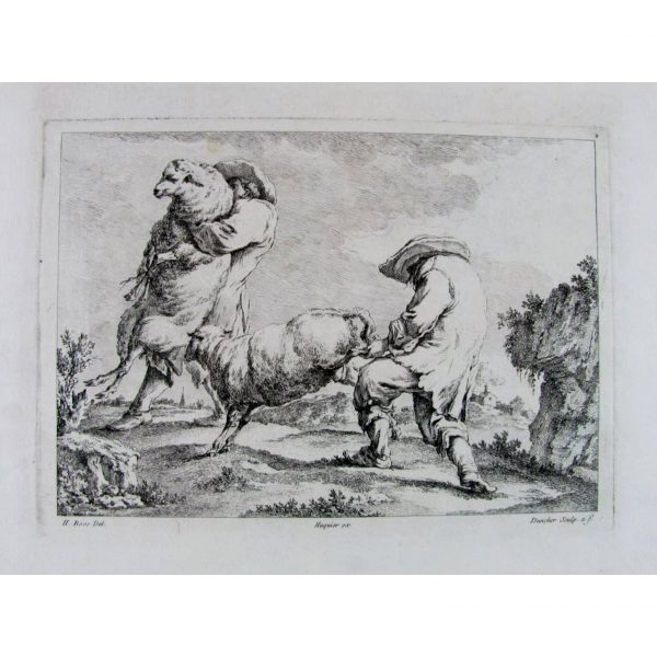 Gabriel Huquier 1695-1772 Stampa antica fiamminga scena agreste