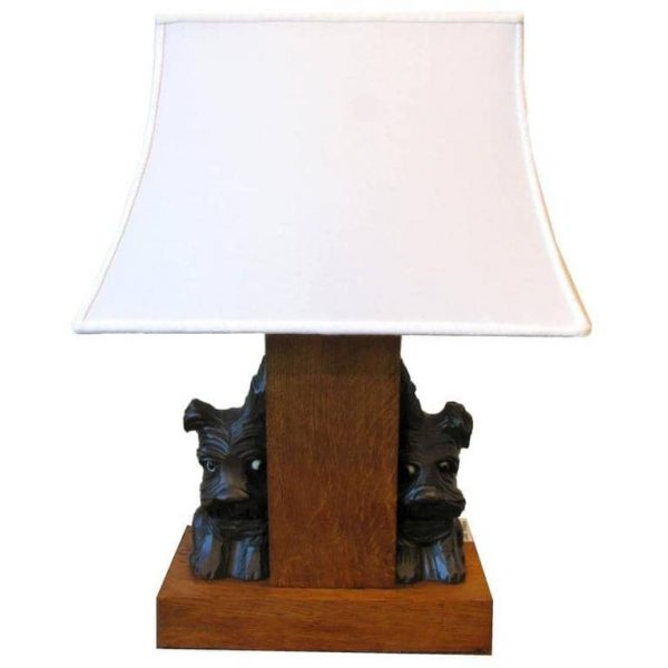 Antique Oak table lamp with Scottish Terrier Dogs
