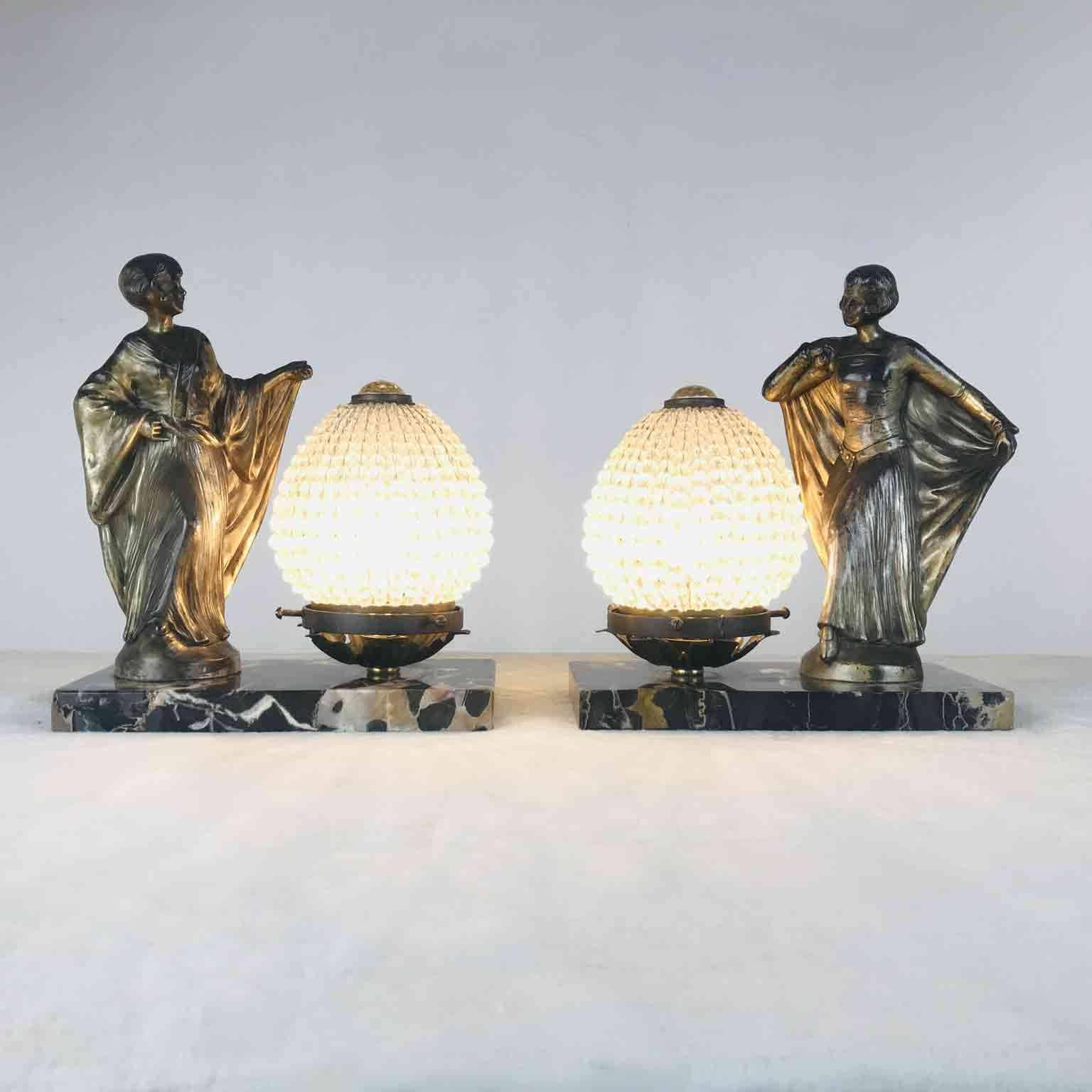 Lampade Da Tavolo Antiche Francesi : Coppia lampade francesi art déco vendita online ghilli