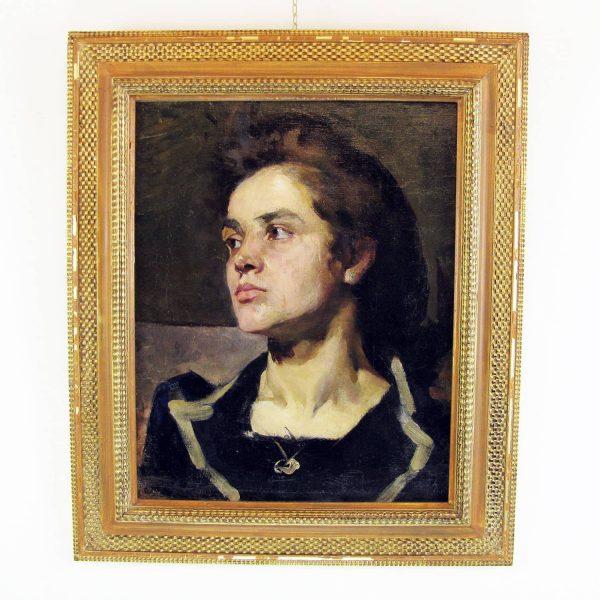 Late 19th century Italian School Lady Portrait by Cesare Tallone