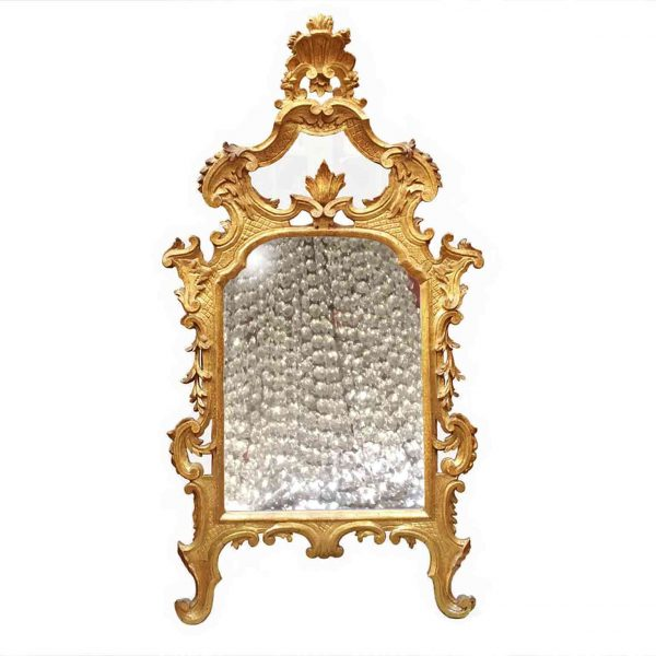 18th century Rococo Italian Carved Giltwood Mirror from Tuscany