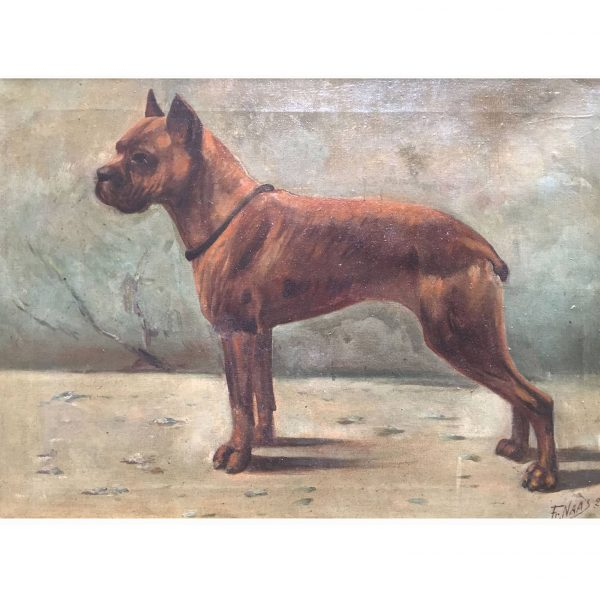 Boxer Dog Painting by Fr.Naas Dated 1923, Oil on Canvas French Painting
