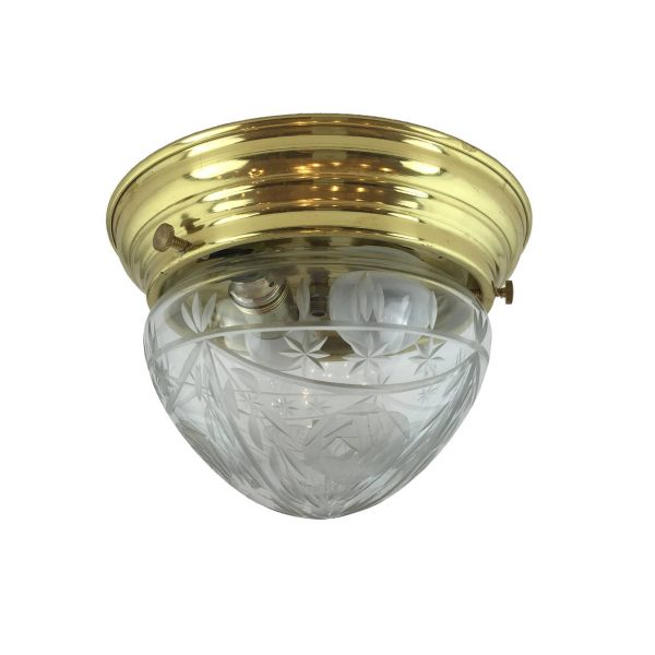 1950s Italian Glass and Brass two light Ceiling Fixture