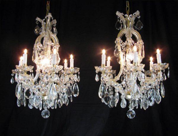 Lampade Cristallo Di Boemia : Coppia di lampadari maria teresa in cristallo di bohemia