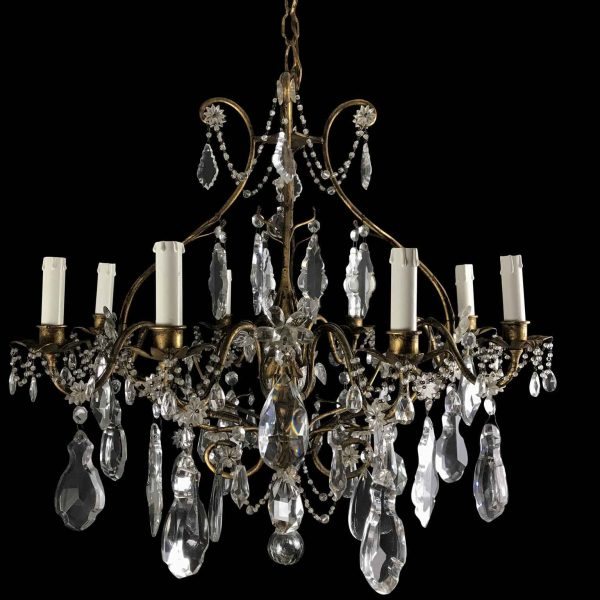 Mid-20th Century Italian Crystal Chandelier with Gilt-leaf Iron Cage Frame