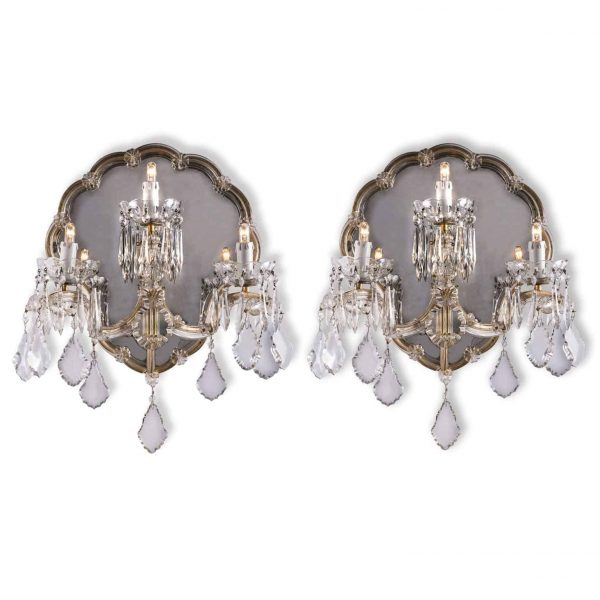 Pair of 1950s Maria Theresa Crystal Sconces