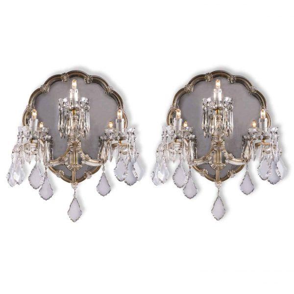 Applique Antiche Cristallo Bohemia a Tre Luci  con Specchio