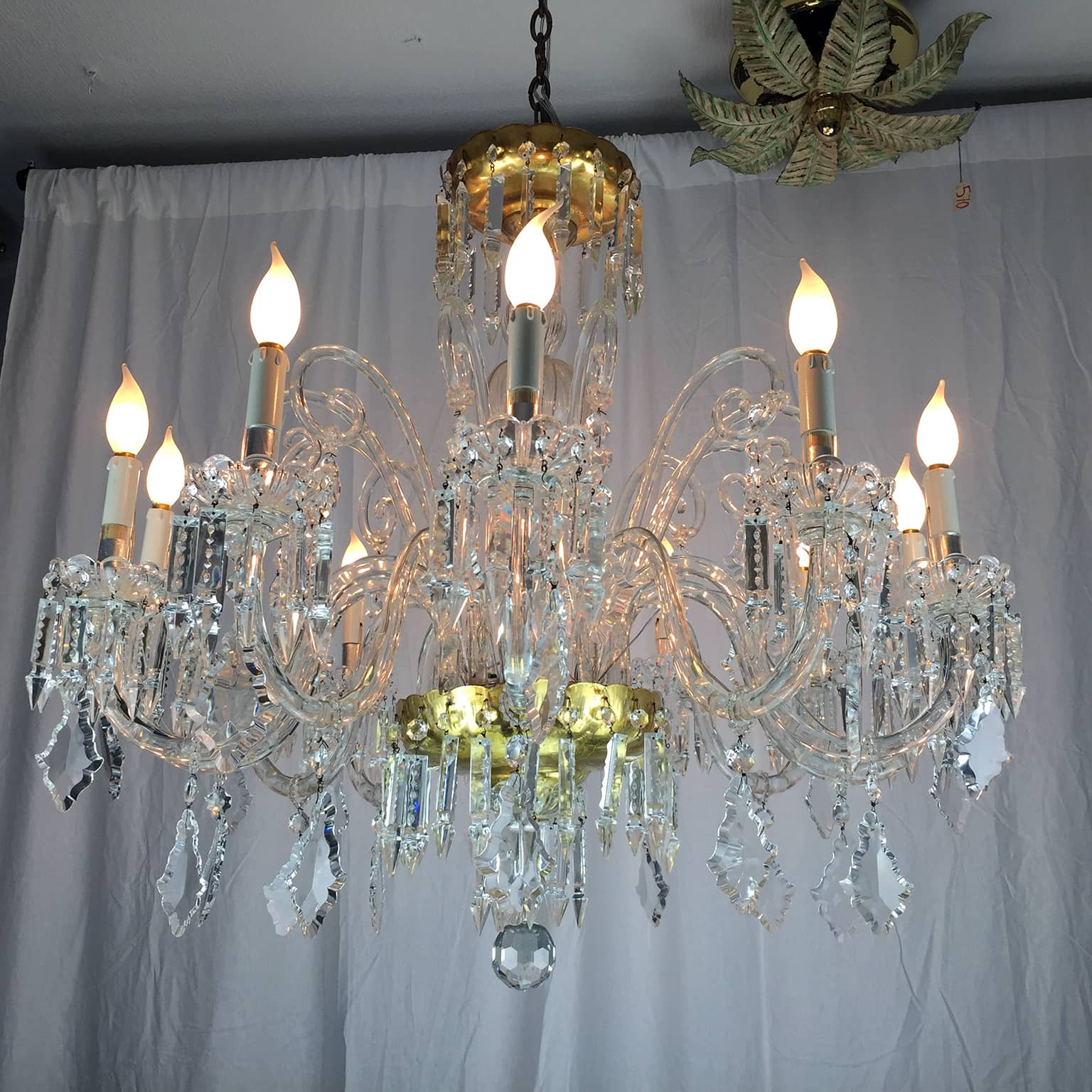 Mid 20th century italian bohemian crystal twelve light chandelier lightbox arubaitofo Gallery