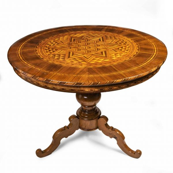 1850s Italian Marquetry CIrcular Coffee Table