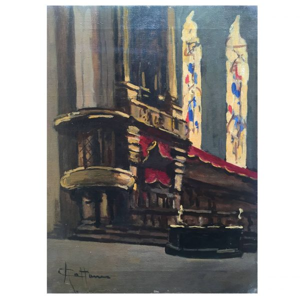 Italian Church Interior Oil On Canvas Painting Signed By Achille Cattaneo (1872 – 1932)