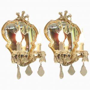 coppia appliques antiche in cristallo con specchio maria teresa