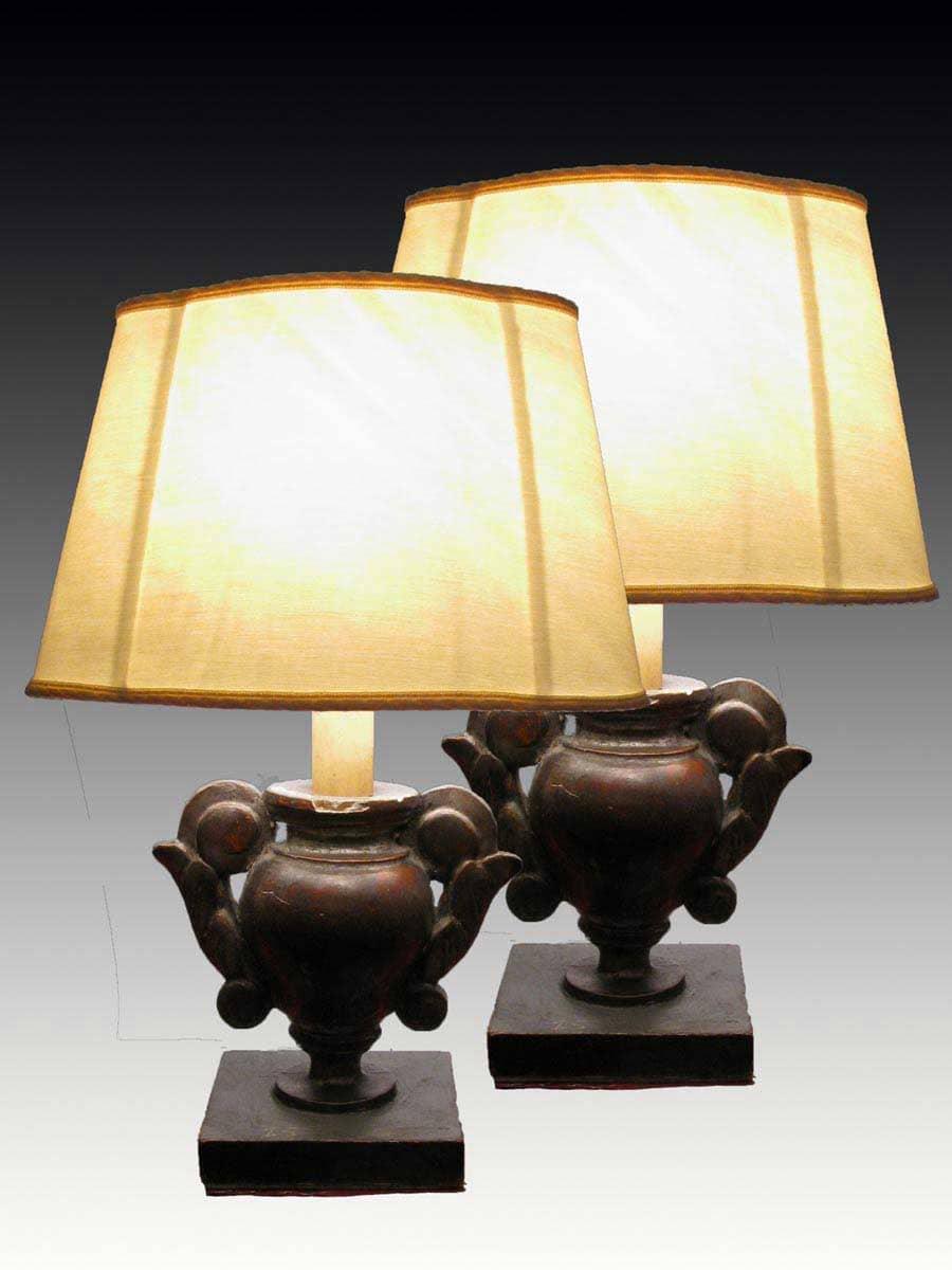 Coppia di portapalme argentate con paralume a ventola - Ebay lampade da tavolo antiche ...