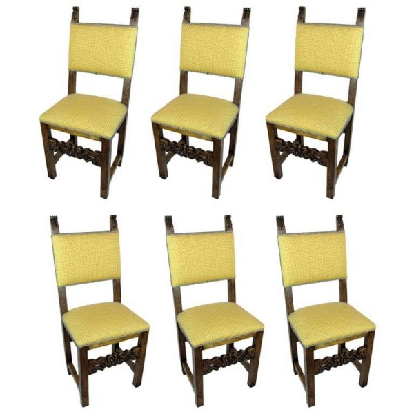 Six Italian Antique Carved Beech Wood Dining Chairs