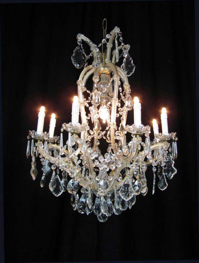 50s Antique Italian Maria Teresa Crystal Chandelier