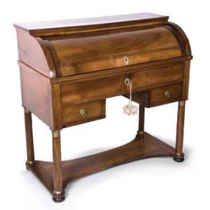 Antica scrivania Impero a cilindro,