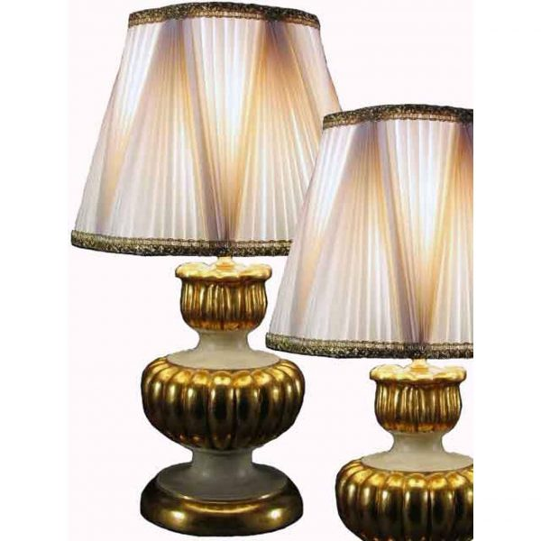 Pair of Italian giltwood and painted table lamps