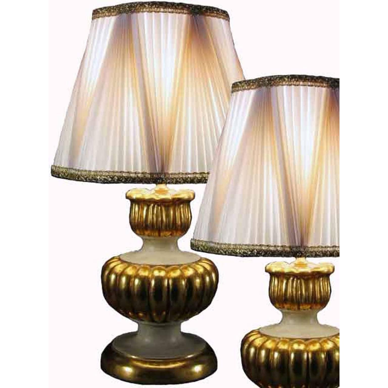 Coppia lampade dorate da tavolo con paralumi plissettati in seta - Lampade da tavolo particolari ...