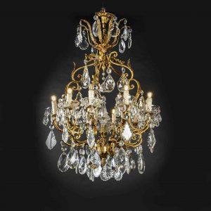 lampadario dorato e cristallo 10 luci