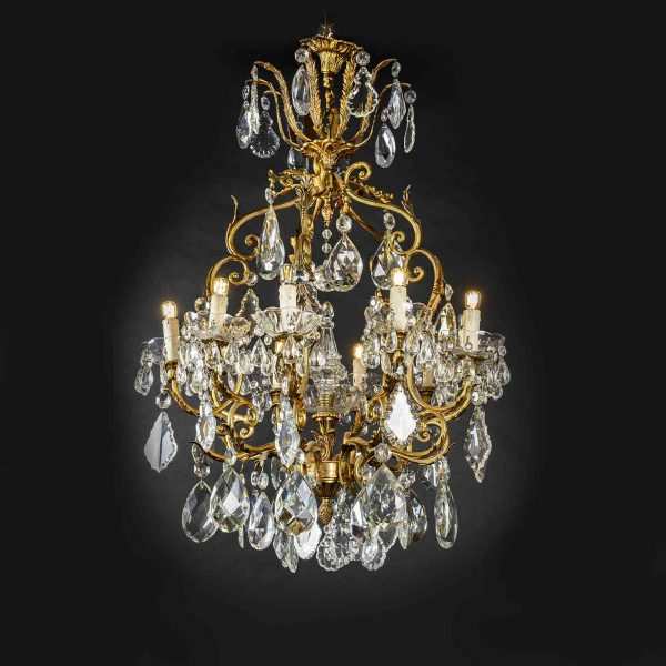1950's Italian Brass and Crystal 10 light Chandelier