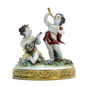 Putti Musicanti Porcellana Policroma Volkstadt Anni 30