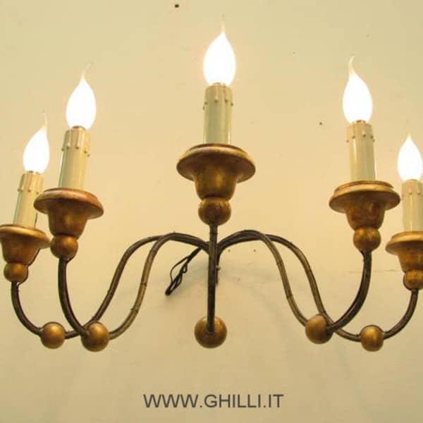 Applique antica ferro a 5 luci