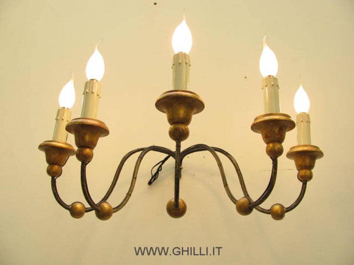 Applique antica ferro a 5 luci vendita online ghilli
